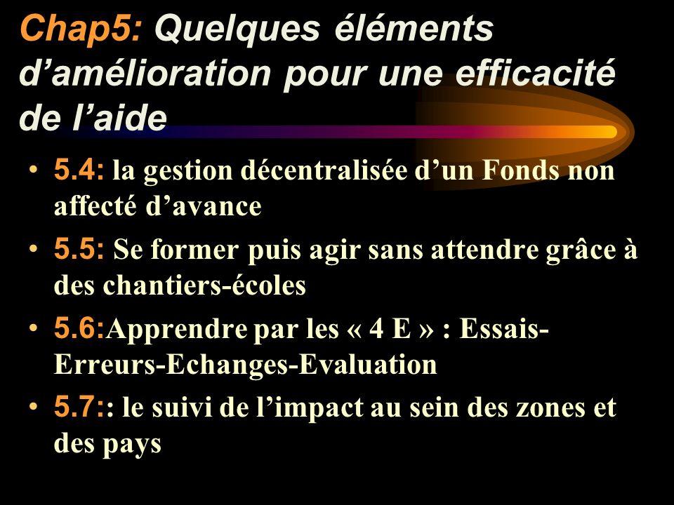 Chap5:Quelques éléments damélioration pour une efficacité de laide 5.4: la gestion décentralisée dun Fonds non affecté davance 5.5: Se former puis agir sans attendre grâce à des chantiers-écoles 5.6: Apprendre par les « 4 E » : Essais- Erreurs-Echanges-Evaluation 5.7: : le suivi de limpact au sein des zones et des pays