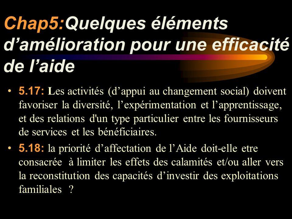 Chap5:Quelques éléments damélioration pour une efficacité de laide 5.17: Les activités (dappui au changement social) doivent favoriser la diversité, lexpérimentation et lapprentissage, et des relations d un type particulier entre les fournisseurs de services et les bénéficiaires.
