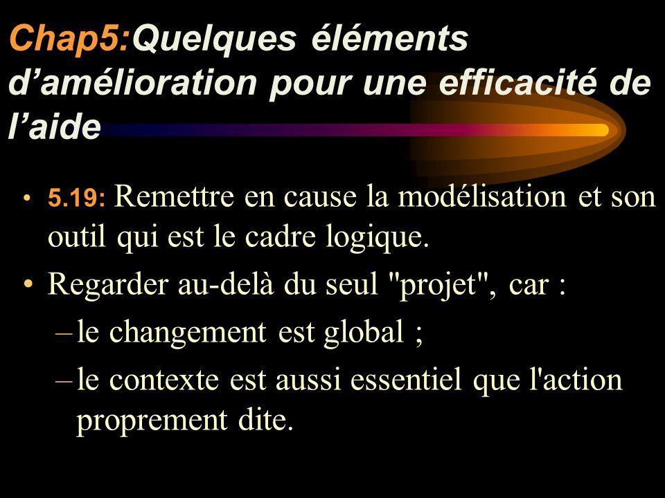 Chap5:Quelques éléments damélioration pour une efficacité de laide 5.19: Remettre en cause la modélisation et son outil qui est le cadre logique.