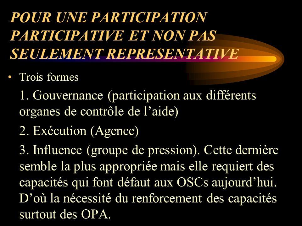 POUR UNE PARTICIPATION PARTICIPATIVE ET NON PAS SEULEMENT REPRESENTATIVE Trois formes 1.