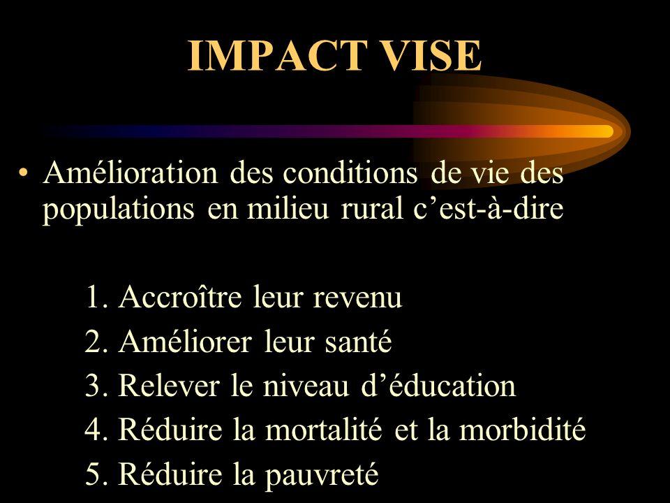 IMPACT VISE Amélioration des conditions de vie des populations en milieu rural cest-à-dire 1.