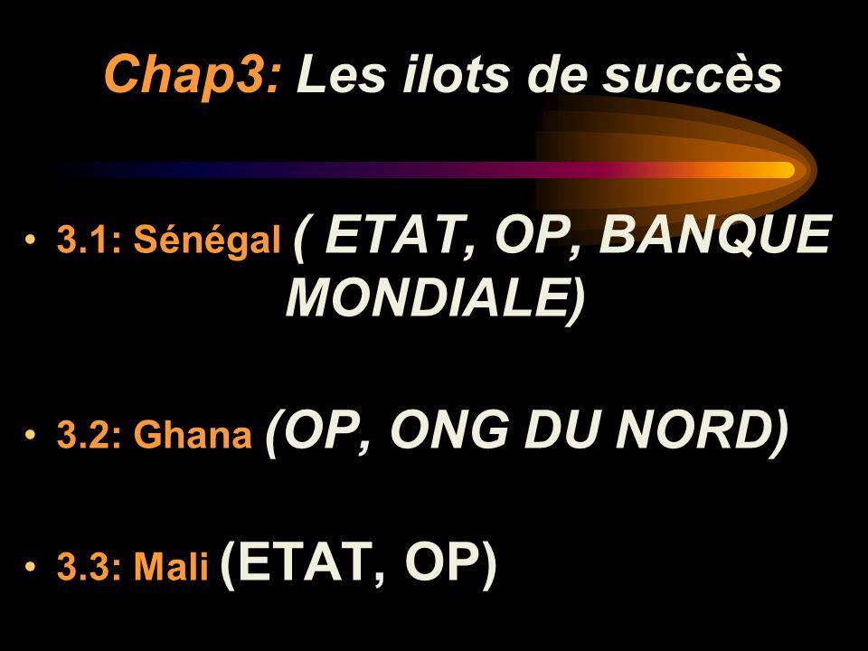 Chap3: Les ilots de succès 3.1: Sénégal ( ETAT, OP, BANQUE MONDIALE) 3.2: Ghana (OP, ONG DU NORD) 3.3: Mali (ETAT, OP)