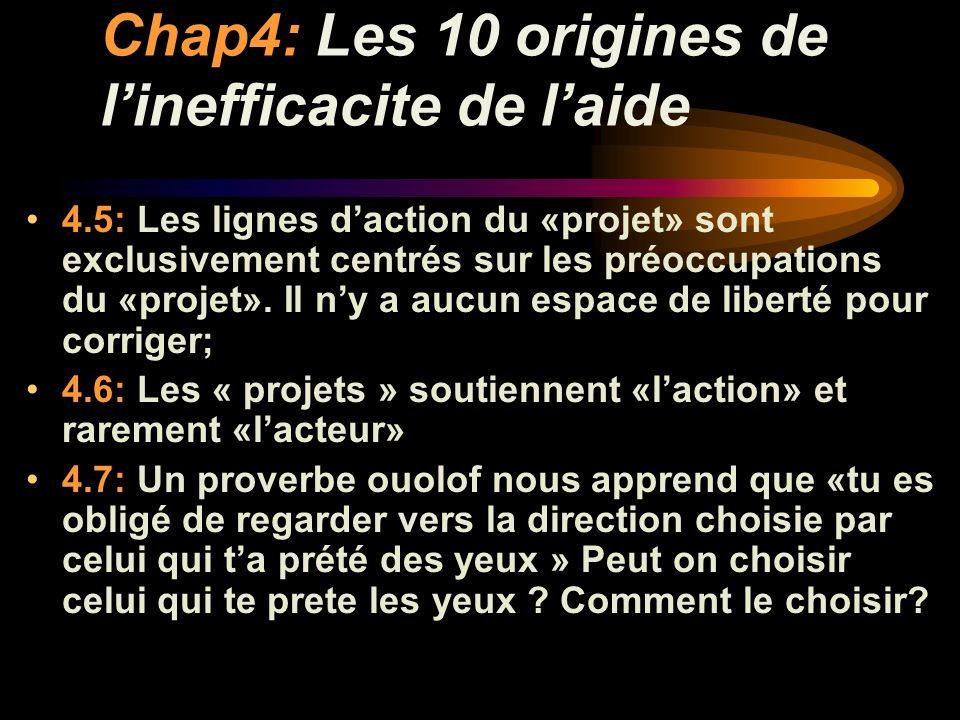 Chap4: Les 10 origines de linefficacite de laide 4.8: Les « projets » sont souvent sectoriels, contrairement a comment on fonctionne dans nos villages.