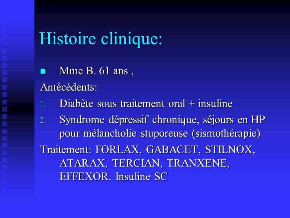 Histoire clinique: Mme B.61 ans, Mme B. 61 ans,Antécédents: 1.