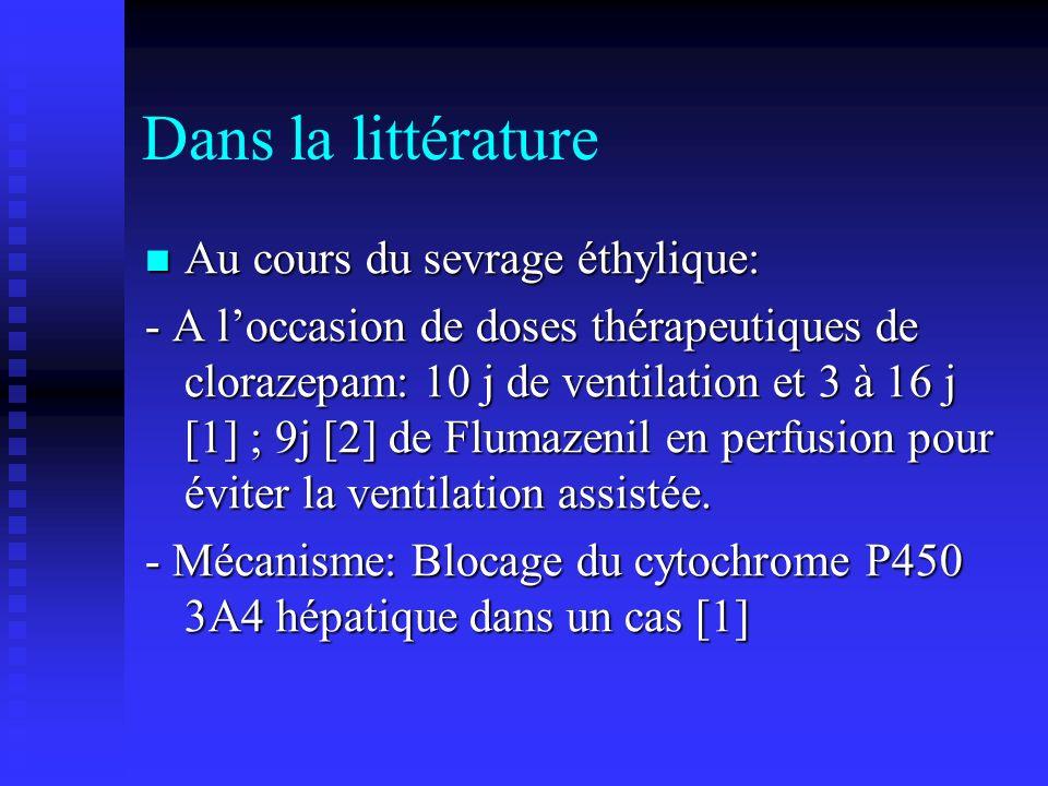 Dans la littérature Au cours du sevrage éthylique: Au cours du sevrage éthylique: - A loccasion de doses thérapeutiques de clorazepam: 10 j de ventilation et 3 à 16 j [1] ; 9j [2] de Flumazenil en perfusion pour éviter la ventilation assistée.