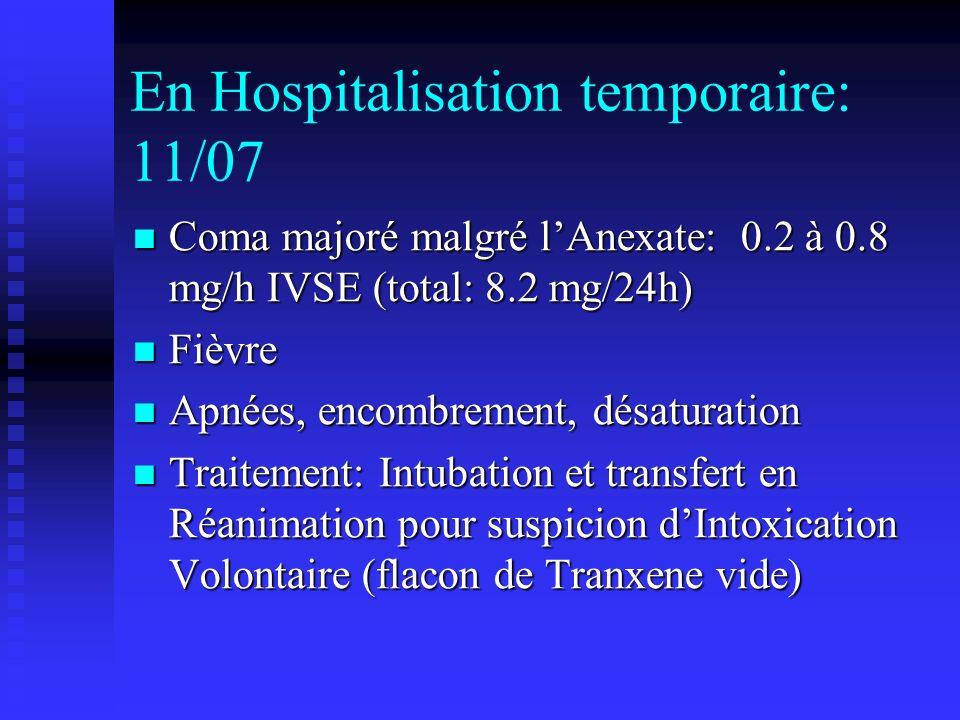 En Hospitalisation temporaire: 11/07 Coma majoré malgré lAnexate: 0.2 à 0.8 mg/h IVSE (total: 8.2 mg/24h) Coma majoré malgré lAnexate: 0.2 à 0.8 mg/h IVSE (total: 8.2 mg/24h) Fièvre Fièvre Apnées, encombrement, désaturation Apnées, encombrement, désaturation Traitement: Intubation et transfert en Réanimation pour suspicion dIntoxication Volontaire (flacon de Tranxene vide) Traitement: Intubation et transfert en Réanimation pour suspicion dIntoxication Volontaire (flacon de Tranxene vide)