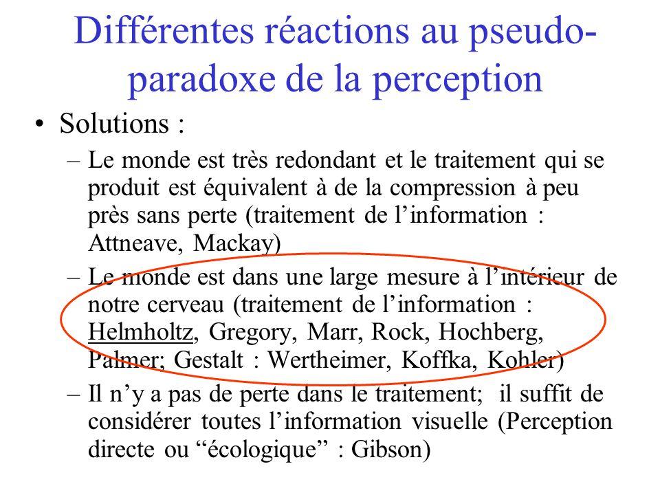Différentes réactions au pseudo- paradoxe de la perception Solutions : –Le monde est très redondant et le traitement qui se produit est équivalent à de la compression à peu près sans perte (traitement de linformation : Attneave, Mackay) –Le monde est dans une large mesure à lintérieur de notre cerveau (traitement de linformation : Helmholtz, Gregory, Marr, Rock, Hochberg, Palmer; Gestalt : Wertheimer, Koffka, Kohler) –Il ny a pas de perte dans le traitement; il suffit de considérer toutes linformation visuelle (Perception directe ou écologique : Gibson)