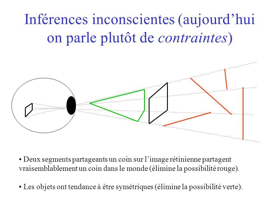 Inférences inconscientes (aujourdhui on parle plutôt de contraintes) Deux segments partageants un coin sur limage rétinienne partagent vraisemblablement un coin dans le monde (élimine la possibilité rouge).