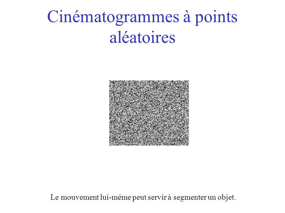 Cinématogrammes à points aléatoires Le mouvement lui-même peut servir à segmenter un objet.