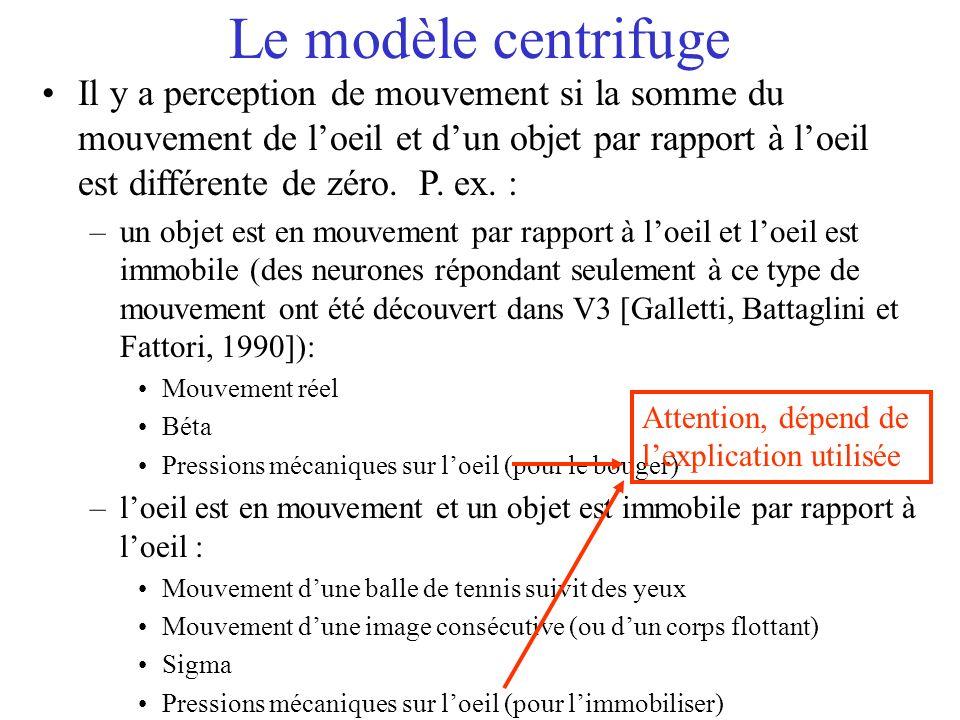 Le modèle centrifuge Il y a perception de mouvement si la somme du mouvement de loeil et dun objet par rapport à loeil est différente de zéro. P. ex.