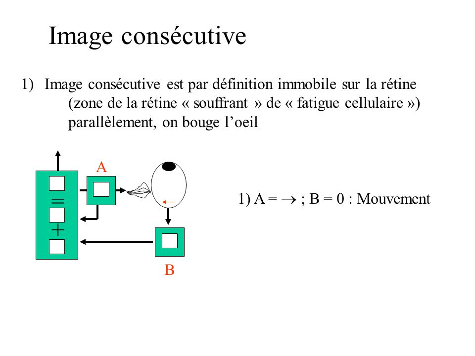 Image consécutive 1)Image consécutive est par définition immobile sur la rétine (zone de la rétine « souffrant » de « fatigue cellulaire ») parallèlement, on bouge loeil =+=+ 1) A = ; B = 0 : Mouvement A B