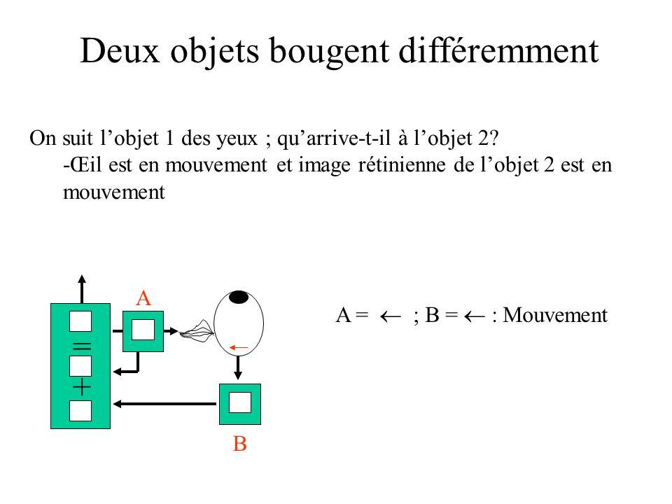 Deux objets bougent différemment On suit lobjet 1 des yeux ; quarrive-t-il à lobjet 2? -Œil est en mouvement et image rétinienne de lobjet 2 est en mo