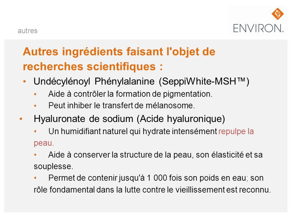 Autres ingrédients faisant l'objet de recherches scientifiques : Undécylénoyl Phénylalanine (SeppiWhite-MSH) Aide à contrôler la formation de pigmenta