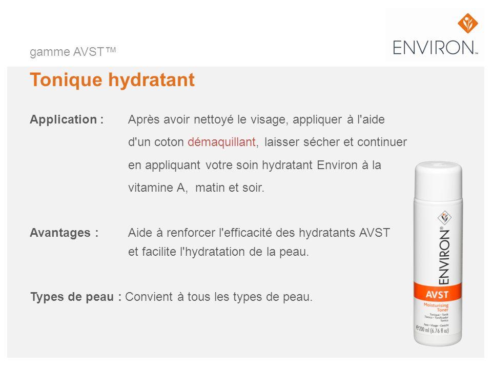 gamme AVST Tonique hydratant Application :Après avoir nettoyé le visage, appliquer à l'aide d'un coton démaquillant, laisser sécher et continuer en ap
