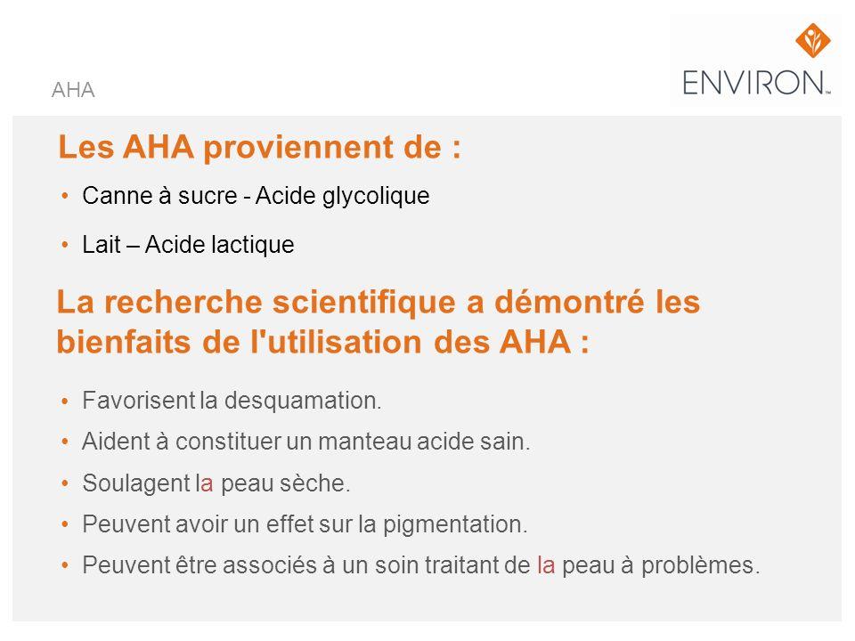 Les AHA proviennent de : Canne à sucre - Acide glycolique Lait – Acide lactique AHA La recherche scientifique a démontré les bienfaits de l'utilisatio
