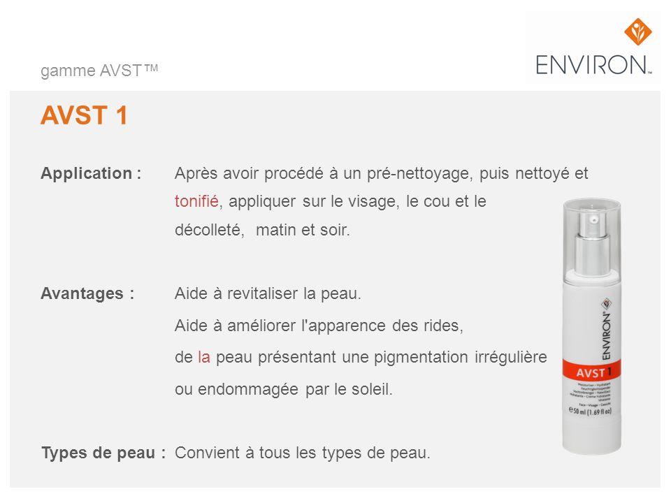 gamme AVST AVST 1 Application :Après avoir procédé à un pré-nettoyage, puis nettoyé et tonifié, appliquer sur le visage, le cou et le décolleté, matin
