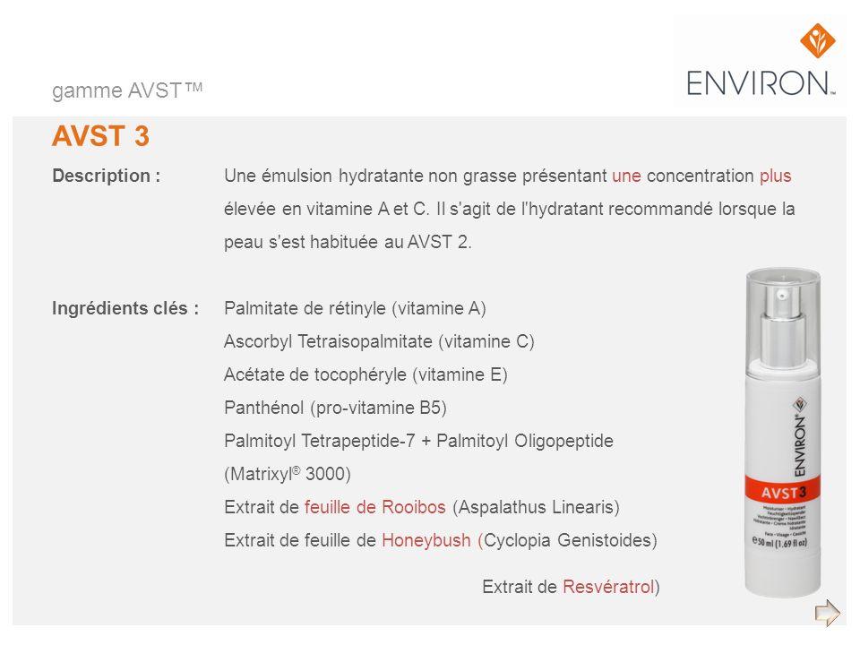 gamme AVST AVST 3 Description :Une émulsion hydratante non grasse présentant une concentration plus élevée en vitamine A et C. Il s'agit de l'hydratan