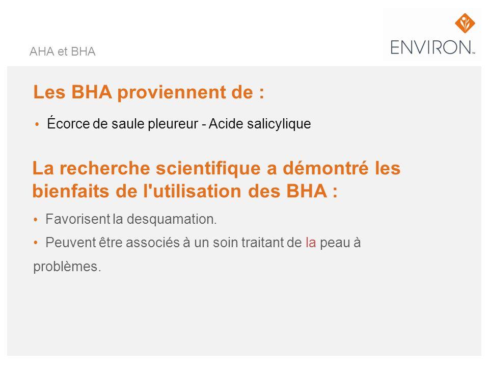 Les BHA proviennent de : Écorce de saule pleureur - Acide salicylique Favorisent la desquamation. Peuvent être associés à un soin traitant de la peau