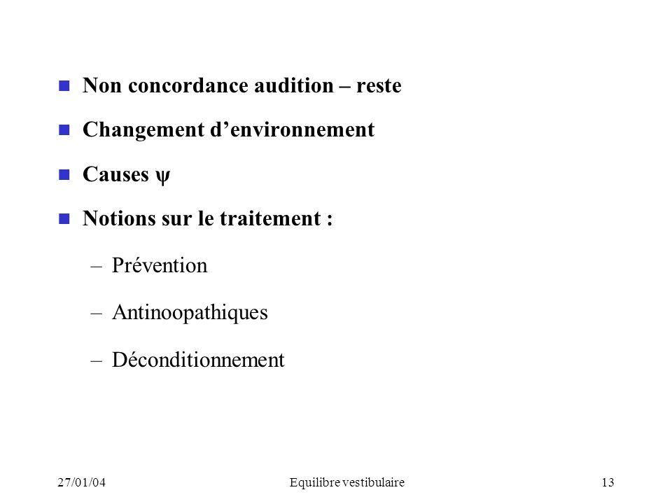 27/01/04Equilibre vestibulaire13 Non concordance audition – reste Changement denvironnement Causes ψ Notions sur le traitement : –Prévention –Antinoop