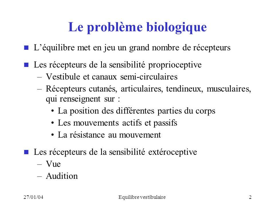 27/01/04Equilibre vestibulaire2 Le problème biologique Léquilibre met en jeu un grand nombre de récepteurs Les récepteurs de la sensibilité propriocep
