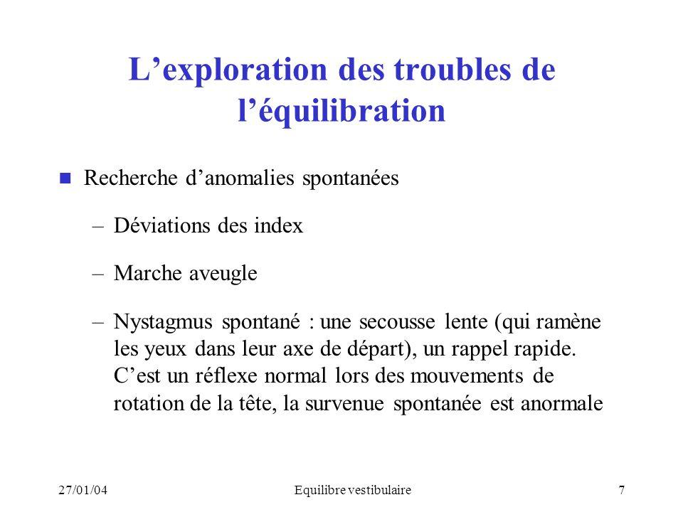 27/01/04Equilibre vestibulaire7 Lexploration des troubles de léquilibration Recherche danomalies spontanées –Déviations des index –Marche aveugle –Nys