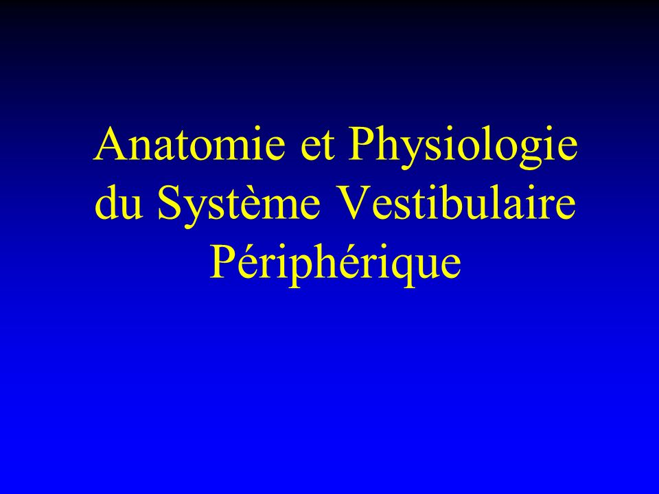 Physiologie du système otolithique Inclinaison latérale