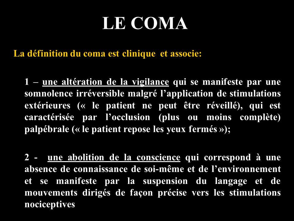 LE COMA EtatCliniqueEEGFDG-PET Mort cérébrale E:0, C:0, R:0, TC:0 isoélectriqueActivité:0 Coma E:0, C:0,R:±, TC:±, Sons:0 Ralenti40-50% Etat végétatif E:+, C:0, R:+, TC:+, sons: ± Ralenti50-60% (zones ass.) Etat de conscience minimale E:+, C:min, R:+, TC:+, sons: ±, Verb: ± Ralenti20-40% Locked-in Syndrome E:+, C:+, R:+, TC:+, Sons:0, Tétraplégie NormalActivité: Nle Schnakers Réanimation 2004 E: éveil, C: conscience, R: respiration, TC: tronc cérébral