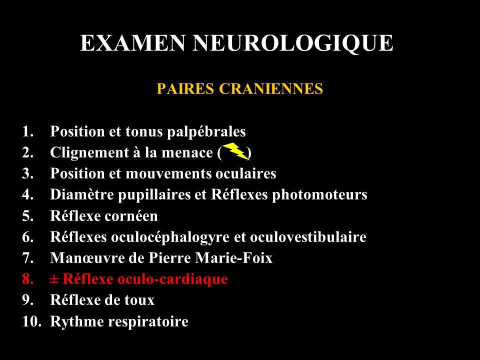 EXAMEN NEUROLOGIQUE PAIRES CRANIENNES 1.Position et tonus palpébrales 2.Clignement à la menace ( ) 3.Position et mouvements oculaires 4.Diamètre pupil