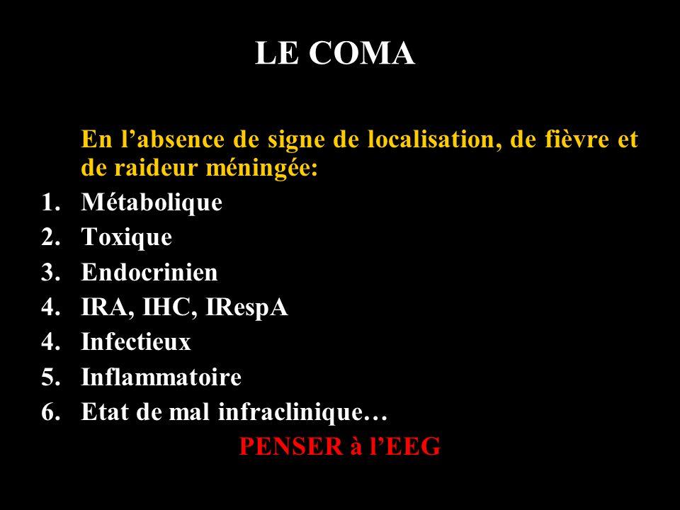 LE COMA En labsence de signe de localisation, de fièvre et de raideur méningée: 1.Métabolique 2.Toxique 3.Endocrinien 4.IRA, IHC, IRespA 4.Infectieux