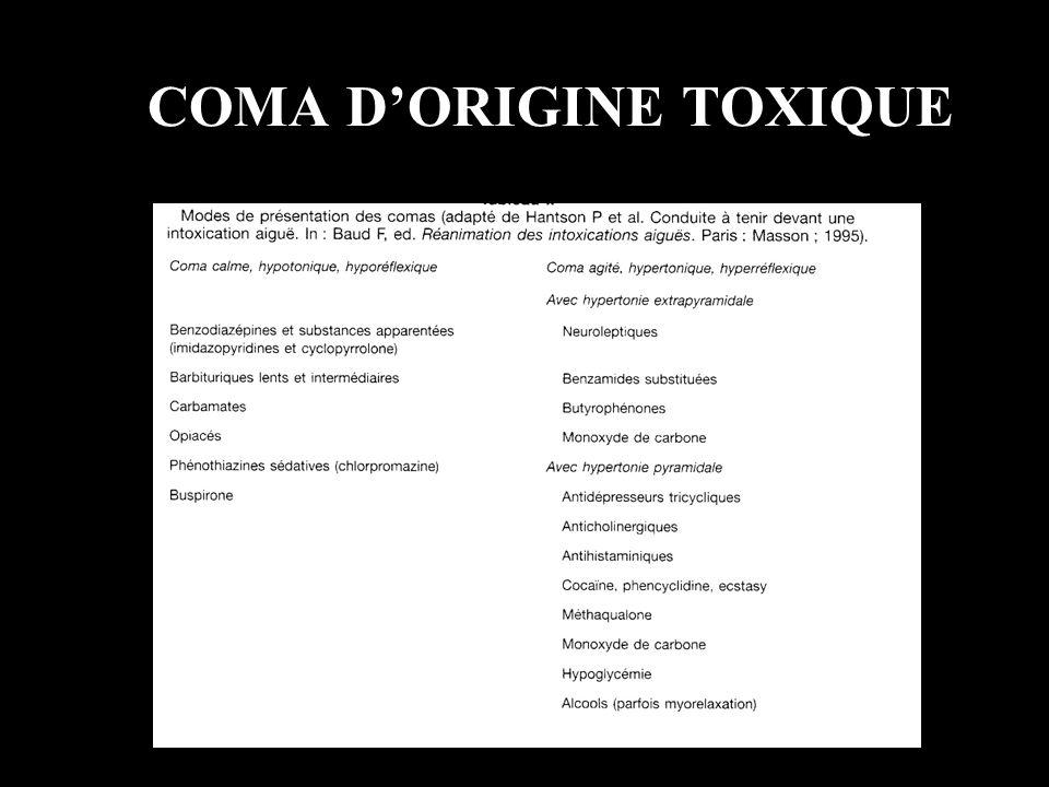 COMA DORIGINE TOXIQUE