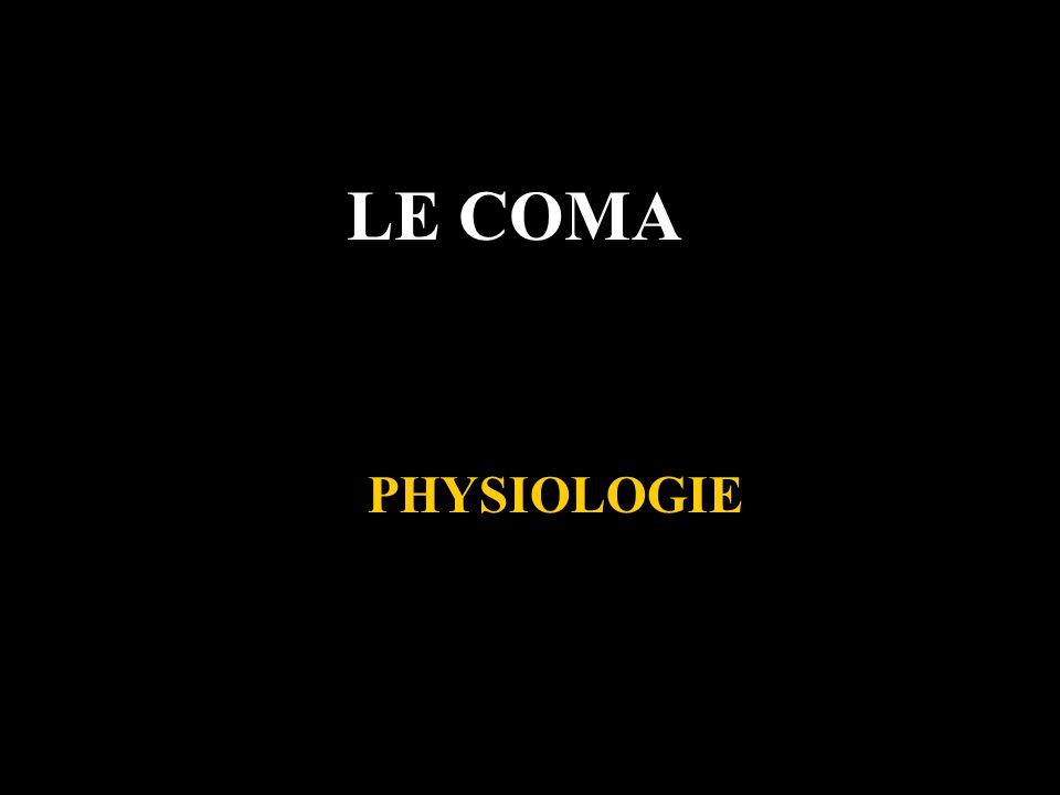 LE COMA Von Economo : implication du tronc cérébral et de lhypothalamus dans léveil Bremer (1929) : somnolence induite par la section mésencéphalique mais pas spino-médullaire Moruzzi et Magoun (1949) : mise en évidence de la SRAA, induction de léveil par stimulations électriques de la SRAA chez le chat légèrement anesthésié