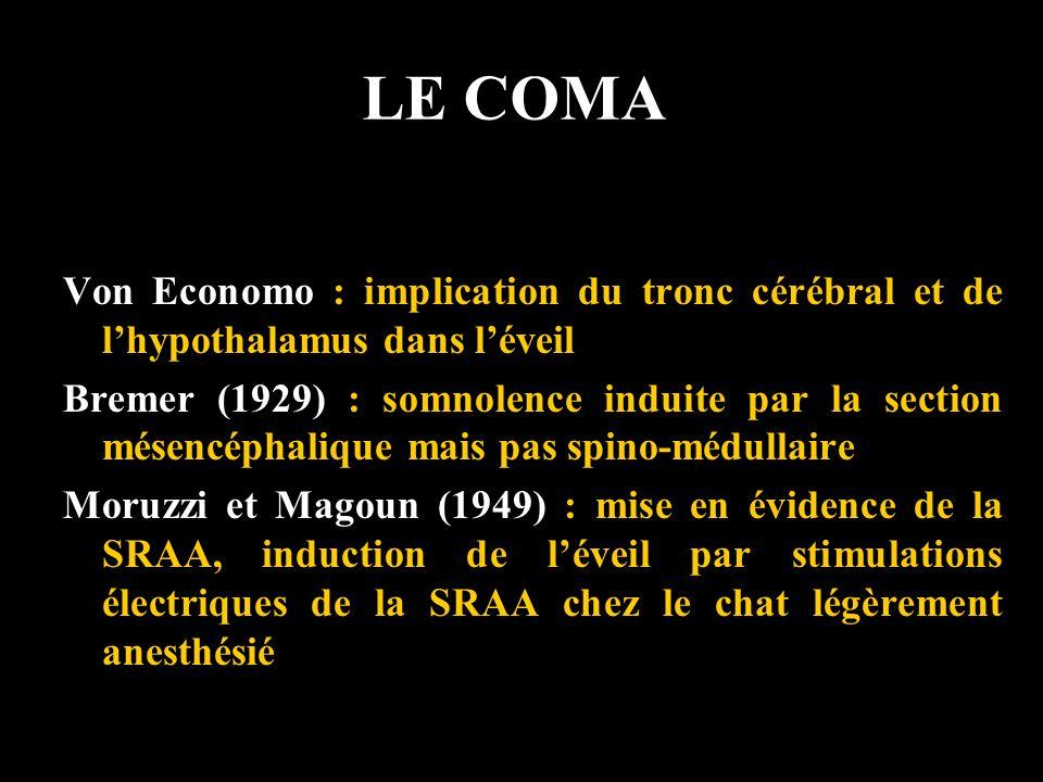 LE COMA Von Economo : implication du tronc cérébral et de lhypothalamus dans léveil Bremer (1929) : somnolence induite par la section mésencéphalique