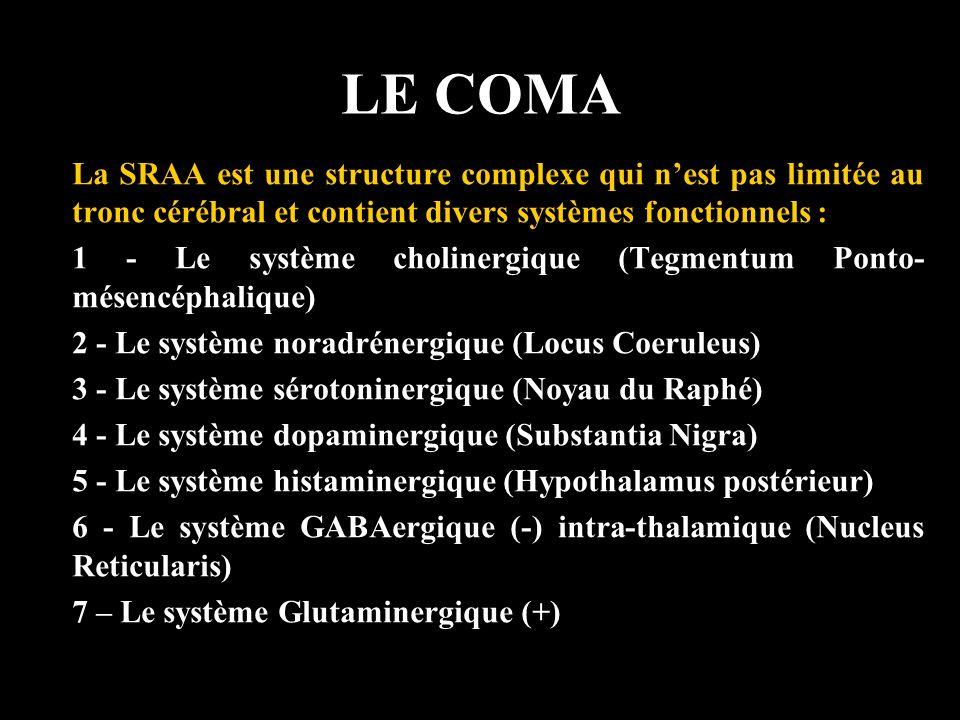 LE COMA La SRAA est une structure complexe qui nest pas limitée au tronc cérébral et contient divers systèmes fonctionnels : 1 - Le système cholinergi