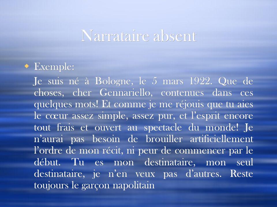 Narrataire absent Exemple: Je suis né à Bologne, le 5 mars 1922. Que de choses, cher Gennariello, contenues dans ces quelques mots! Et comme je me réj