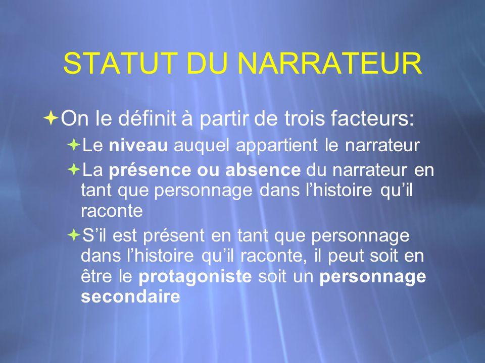 STATUT DU NARRATEUR On le définit à partir de trois facteurs: Le niveau auquel appartient le narrateur La présence ou absence du narrateur en tant que
