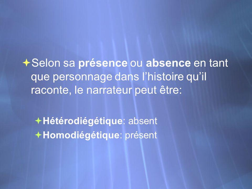 Selon sa présence ou absence en tant que personnage dans lhistoire quil raconte, le narrateur peut être: Hétérodiégétique: absent Homodiégétique: prés