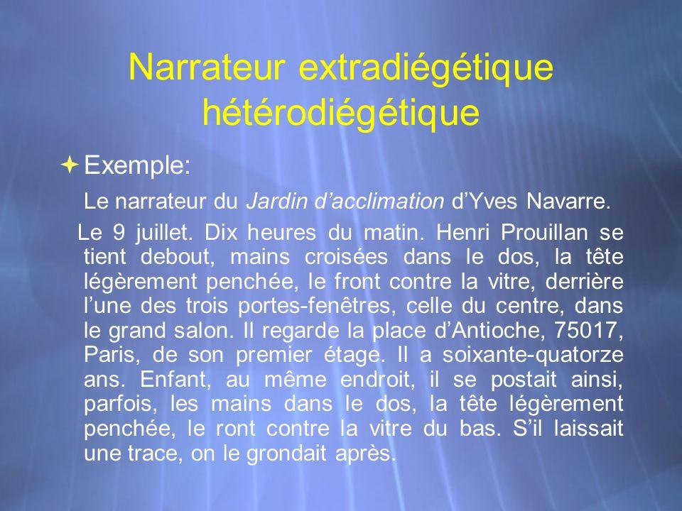 Narrateur extradiégétique hétérodiégétique Exemple: Le narrateur du Jardin dacclimation dYves Navarre. Le 9 juillet. Dix heures du matin. Henri Prouil
