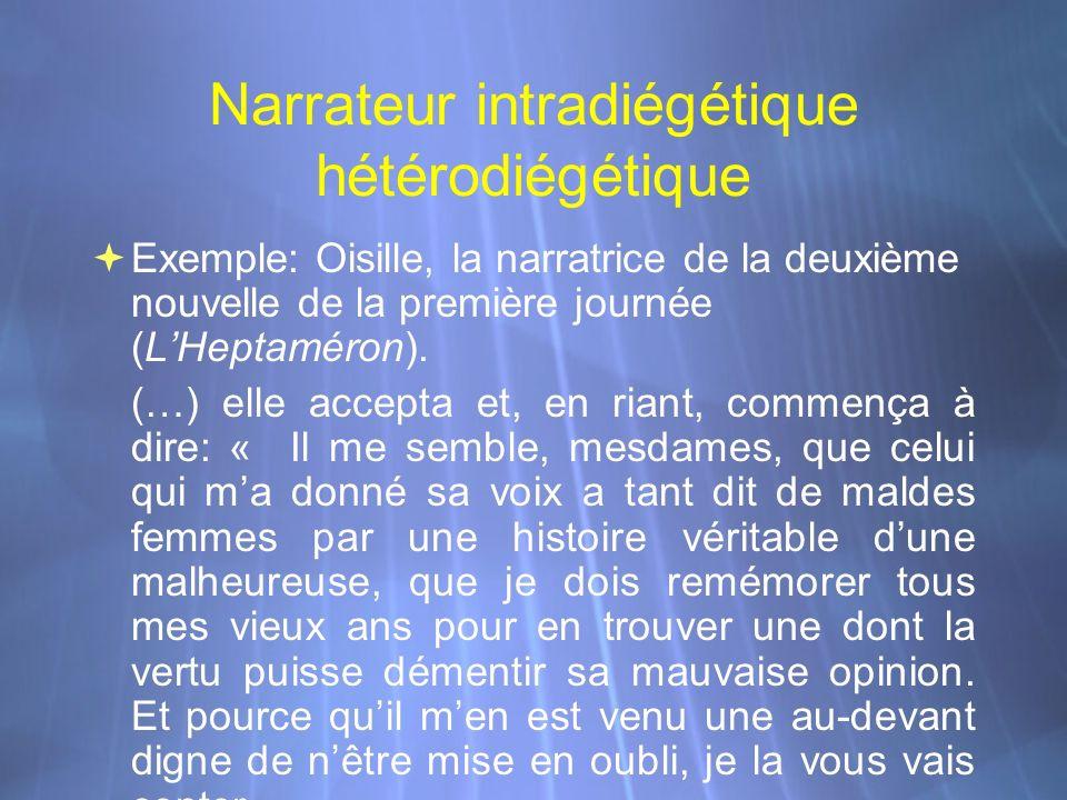 Narrateur intradiégétique hétérodiégétique Exemple: Oisille, la narratrice de la deuxième nouvelle de la première journée (LHeptaméron). (…) elle acce