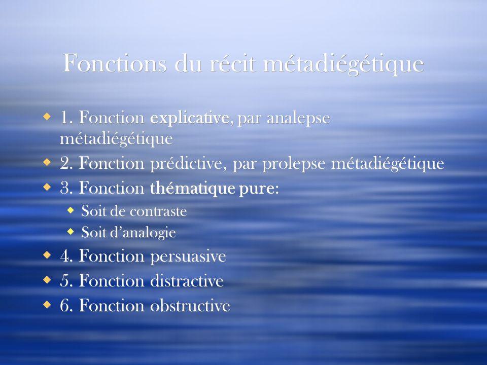 Fonctions du récit métadiégétique 1. Fonction explicative, par analepse métadiégétique 2. Fonction prédictive, par prolepse métadiégétique 3. Fonction