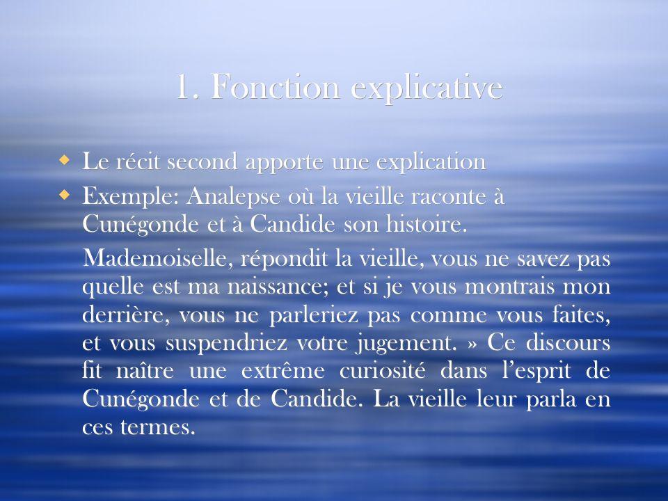 1. Fonction explicative Le récit second apporte une explication Exemple: Analepse où la vieille raconte à Cunégonde et à Candide son histoire. Mademoi