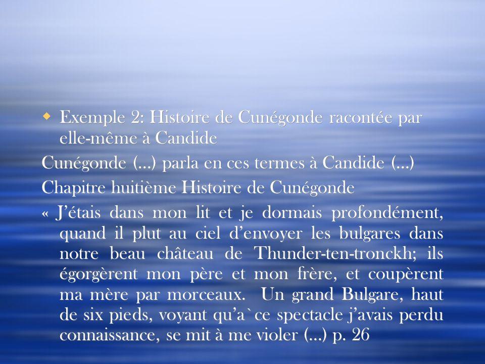 Exemple 2: Histoire de Cunégonde racontée par elle-même à Candide Cunégonde (…) parla en ces termes à Candide (…) Chapitre huitième Histoire de Cunégo