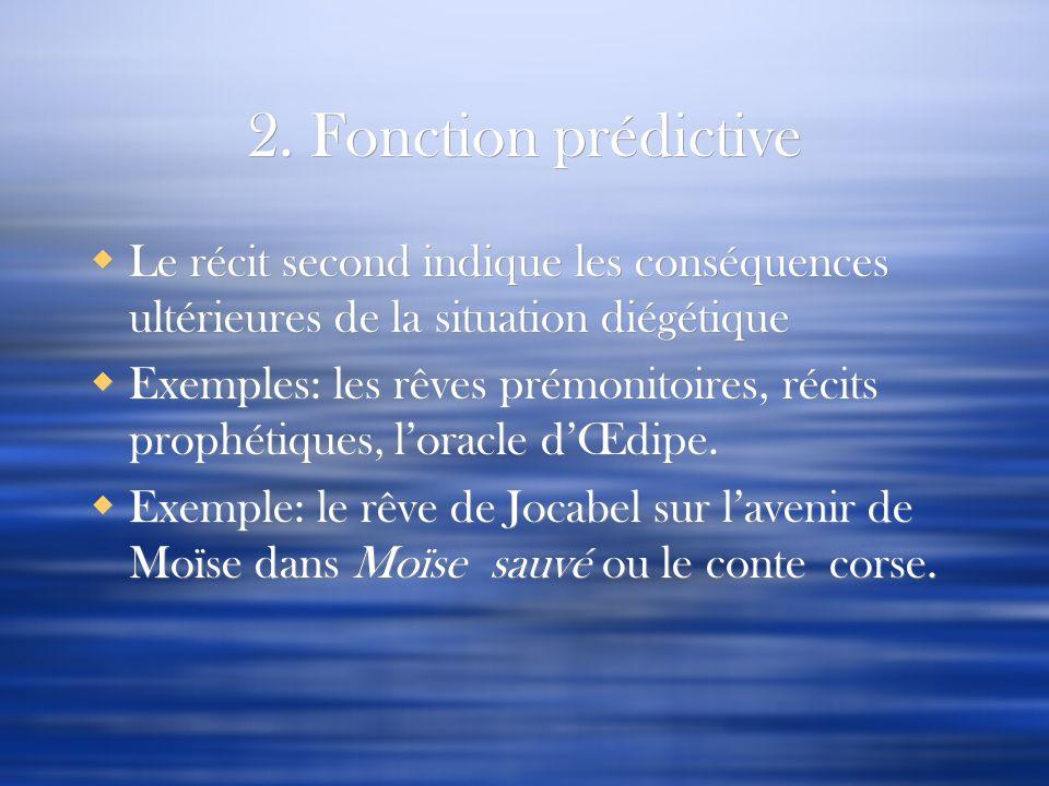2. Fonction prédictive Le récit second indique les conséquences ultérieures de la situation diégétique Exemples: les rêves prémonitoires, récits proph