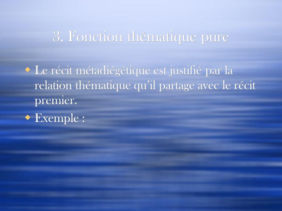 3. Fonction thématique pure Le récit métadiégétique est justifié par la relation thématique quil partage avec le récit premier. Exemple : Le récit mét