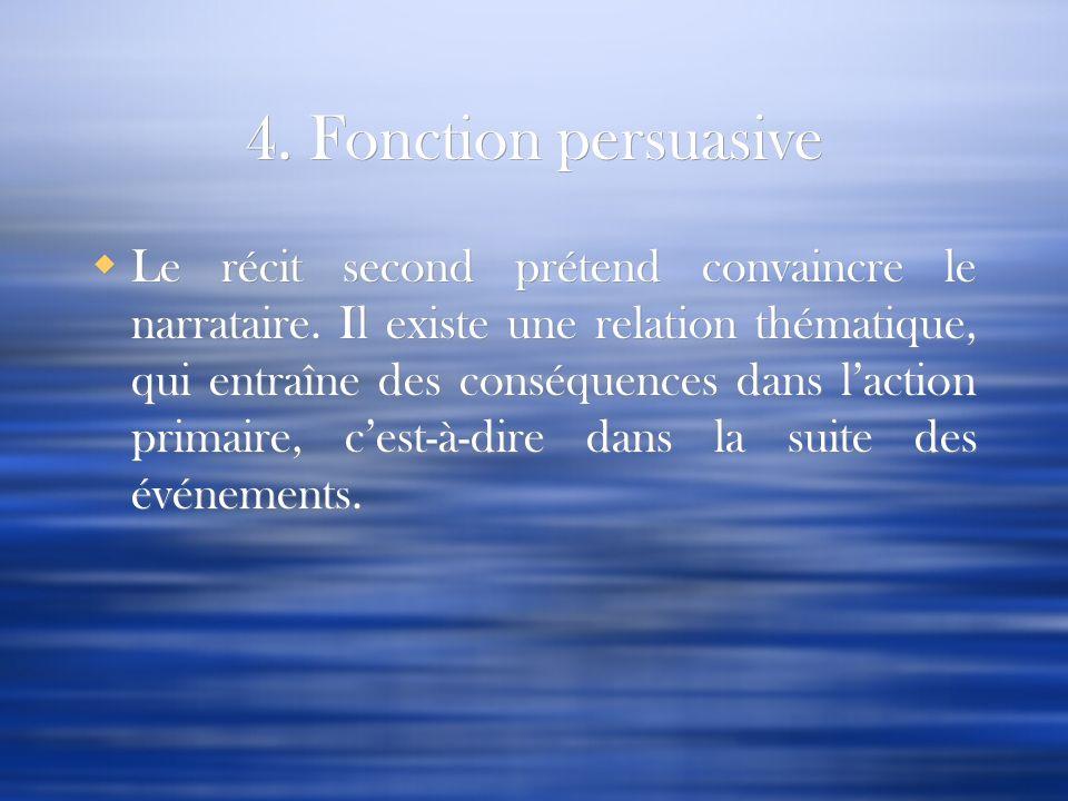 4. Fonction persuasive Le récit second prétend convaincre le narrataire. Il existe une relation thématique, qui entraîne des conséquences dans laction
