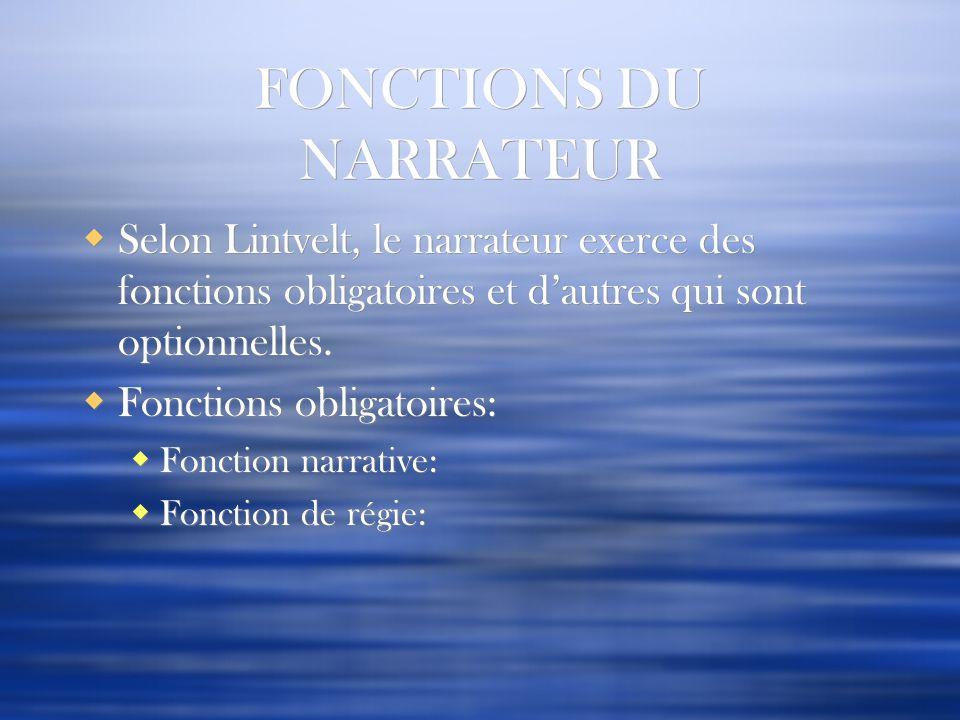 FONCTIONS DU NARRATEUR Selon Lintvelt, le narrateur exerce des fonctions obligatoires et dautres qui sont optionnelles. Fonctions obligatoires: Foncti