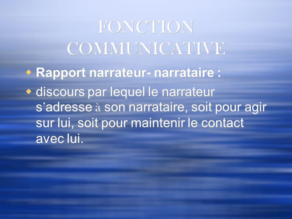 FONCTION COMMUNICATIVE Rapport narrateur- narrataire : discours par lequel le narrateur s adresse à son narrataire, soit pour agir sur lui, soit pour