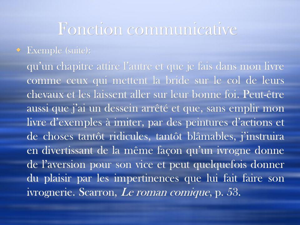 Fonction communicative Exemple (suite): quun chapitre attire lautre et que je fais dans mon livre comme ceux qui mettent la bride sur le col de leurs