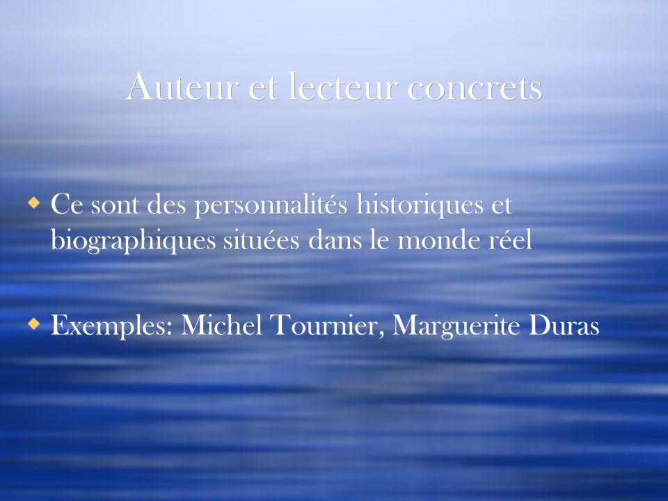 Auteur et lecteur concrets Ce sont des personnalités historiques et biographiques situées dans le monde réel Exemples: Michel Tournier, Marguerite Dur