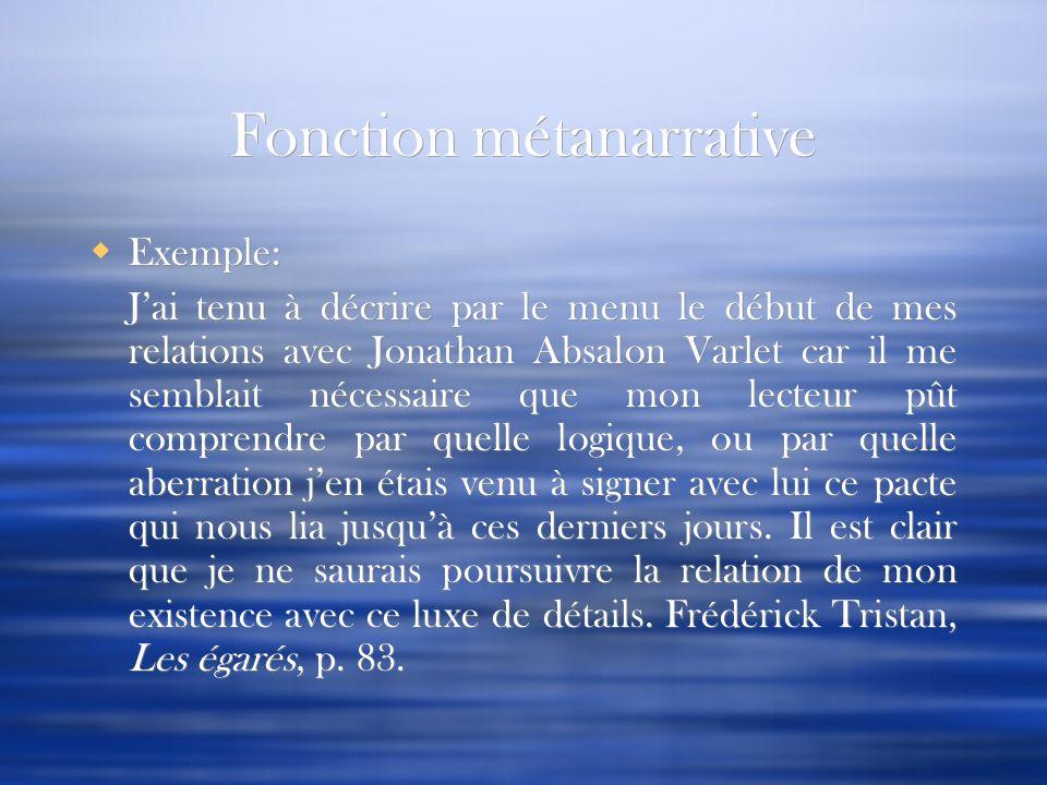 Fonction métanarrative Exemple: Jai tenu à décrire par le menu le début de mes relations avec Jonathan Absalon Varlet car il me semblait nécessaire qu