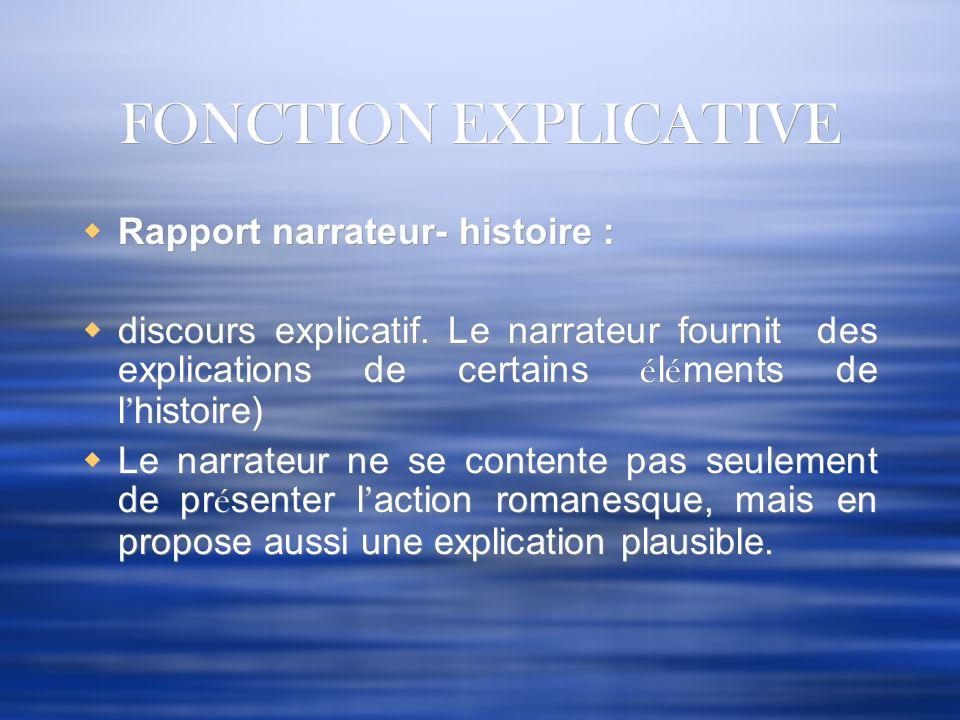 FONCTION EXPLICATIVE Rapport narrateur- histoire : discours explicatif. Le narrateur fournit des explications de certains é l é ments de l histoire) L